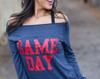 Game Day Shirt. Off the Shoulder Long Sleeved Long Heathered Tee, Sport Striped Wrists - 6 tee colors to choose from. Long Sleeve Shirt.