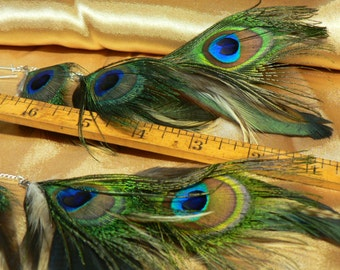 Peacock eye feather earrings, long chain earrings,made with cruelty free feathers