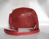AW13 bag in berry red - croc embossed