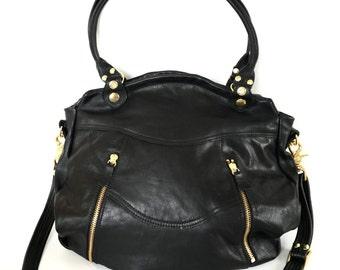 Large Larch bag - veg tanned black cow hide