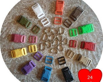 """SALE - 24 SETS - 1"""" - Dog Collar Kits, Wide mouth, ASSORTED - Black.White.Red.Yellow.Raspberry.Blue.LimeGreen.Orange.Olive.Tan.Purple.Brown"""