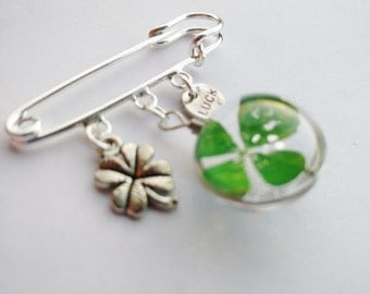 clover brooch - real clover jewelry - four leaf clover - shawl pin - pin - safety pin - lucky jewelry - 4 leaf clover