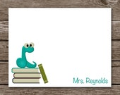 Bookworm Note Cards - Notecards - Teacher - Stationery - Stationary - Personalized - Set of 8