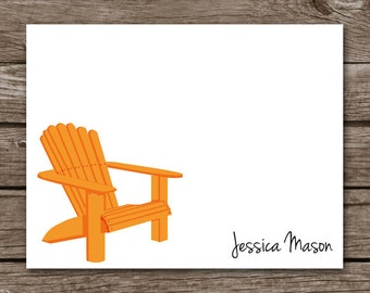 Beach Chair Note Cards - Notecards - Adirondack Chair - Summer - Sea - Sand - Ocean - Lake - Personalized - Set of 8