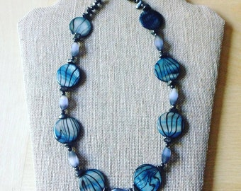 """Abalone """"Shell"""" Beaded Necklace"""
