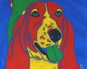 Basset Hound Dog Art - Dog Pop Art - Animal Artist - Matted Print by Angela Bond