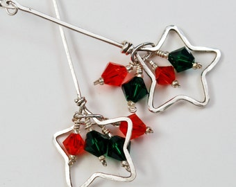 Holiday Falling Stars, Christmas Earrings, Swarovski Element Crystals, Sterling Silver Dangle Earrings, wiresNpliers,  Red and Green