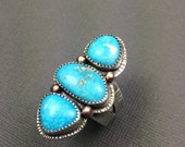 Triple Turquoise Ring one of a kind statement ring