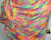 Knit Shawl, Triangle Shawl, Rainbow Colors, Bright Colors, Hand Knit