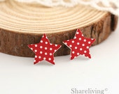 10pcs Red White Polka Dots Star Wooden Cabochons / Charm, Perfect for Earring, Necklace - HWE402N