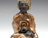 Little Gold Buddha in Raku Ceramics Original One of a Kind Sculpture of Meditation