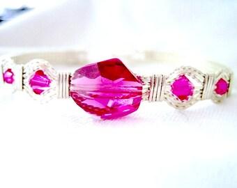 Fushia Swarovski Beads Sterling Silver Wire Wrapped Handmade Bracelet