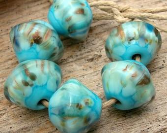 CRUSHED SHELLS  - Handmade Lampwork Bicone Beads - Earring Pairs - 6 Beads