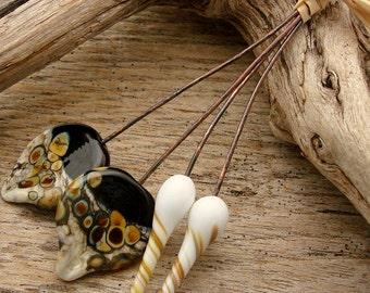 PODS AND PETALS - Ornate Pod and Petal Shaped Handmade Lampwork Headpins - 4 Headpins