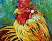 Rooster 807 12x12 inch animal portrait original oil painting by Roz