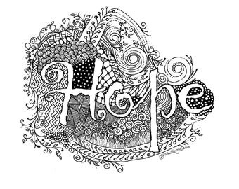 Coloring Page Hand Drawn Whimsical HOPE