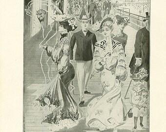 ON SALE Antique Satan Print The Devil Vintage Christian Book Illustration 1911 Edwardian Fashions