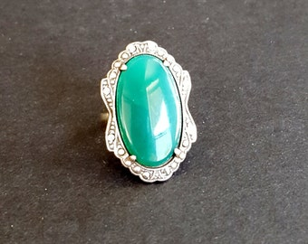 Uncas Large Art Deco Emerald Ring -Marcasite Sterling Silver Oval Green Chrysoprase Vintage 1920s  Size 6 Gift Present Christmas Anniversary