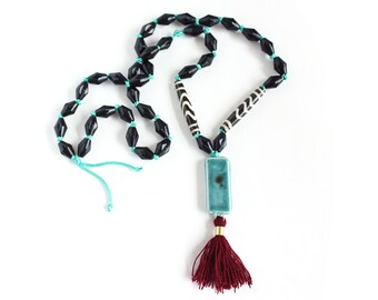 Tassel Necklace, Long Necklace, Turquoise, Ceramic Bead, Hand Knotted Necklace, Wood Bead Necklace, Modern Boho Necklace, Geometric Necklace