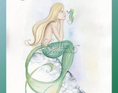 Cheer You Up Seahorse and Mermaid Art Print from Original Watercolor Painting by Camille Grimshaw