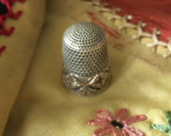 Vintage  Thimble with Starburst Design and C Engraved into the Gold Band