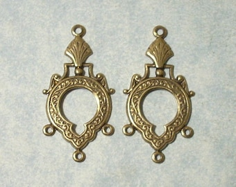 2 - Antique Brass Chandelier Stampings, Three Ring Connectors , Earring Drops, Earring Components