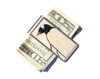 Money Clip, Moneyclip, Penguin Moneyclip, Father's Day Gift, Gift for Men, Best Friend Gift, Penguin Print Money Clip