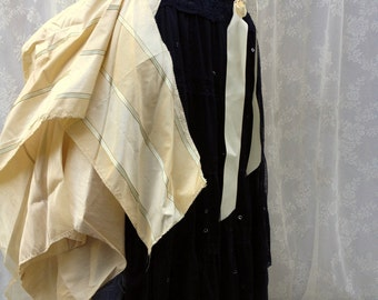 Striped silk steampunk bustle - buttercream and off-white striped bustle skirt - Victorian scrap bustle - plus size no size