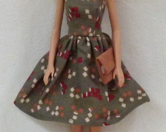 "11.5"" fashion dolls Handmade dress with purse and moccasins"