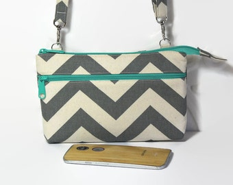 Crossbody Wallet Cell Phone Cross Body Purse / iPhone 6 Plus Clutch / Samsung Galaxy Wallet / Gray Chevron Canvas