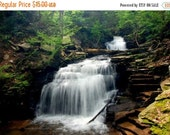"""40% OFF SALE Earth Day, Waterfall Picture, Nature Photo, Landscape Photography, Woodland, Stream, Forest, Green - 5x7 inch Print -""""Legend"""""""