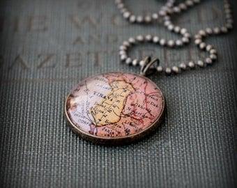 Albania Map Necklace - Custom Handmade Pendant - Charm Jewelry - Tirana