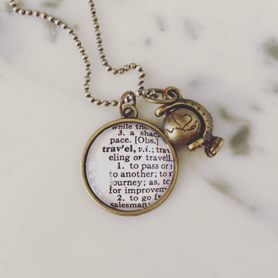travel definition charm necklace personalized brass map