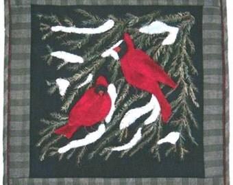 Primitive Folk Art Wool Applique Pattern - Evergreen Retreat - Cardinal Birds Evergreen Branches - Lily Anna Stitches