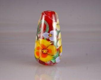 Lampwork  Focal Bead - Encased Floral Lampwork Bead