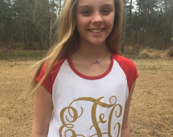Short Sleeve Monogrammed Ragland Perfect for Tweens, Teens, and Women