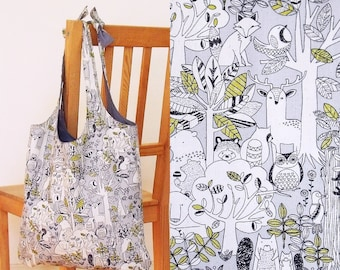 Library bag in forest friends print - heavy cotton, lined