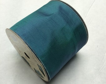 Blue green wired ribbon - 25 yard spool - 5 inches wide TEAL