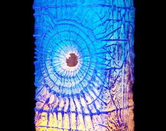 Votive Resin Candle Holder Blue Glow in the Dark Light and Shadow Gothic Surreal Building