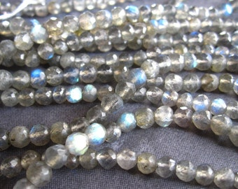 Blue Fire Labradorite faceted 4mm rounds stone beads - 12 inch strand