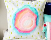 Abstract Geode Pillow Cover - Handpainted OOAK - Neon
