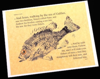 Fishers of men Bible Passage Art... 8 1/2 X11  Cottage Decor GYOTAKU Fish Art Rubbing Art Print Gift for the Clergy