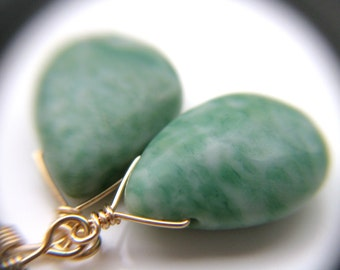 Nature Inspired Jewelry . Green Drop Earrings . Tree Agate Earrings . 14k Gold fill Wire Wrapped Earrings - Juneau Collection
