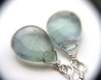 Blue Fluorite Earrings . Blue Teardrop Earrings . Simple Drop Earrings Wire Wrap Earrings . Healing Crystal Jewelry - Chakra Collection