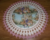 Crocheted Easter Doily Bunnys Eggs Basket of Spring Flowers with Pink Edging 18 inches Doilies Centerpieces