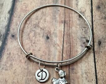 Shih Tzu initial bangle - dog bangle, dog charm bracelet, silver shih tzu bracelet, pet charm bracelet, shih tzu jewelry, dog breed jewelry
