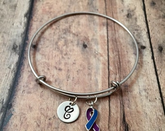 Rheumatoid Arthritis awareness initial bangle - awareness ribbon bangle, RA jewelry, awareness jewelry, Rheumatoid arthritis ribbon bracelet