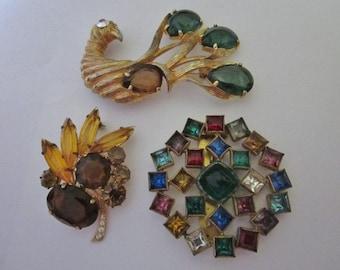 DeStash Vintage Rhinestone Brooches and Clip