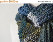 Sale Forest Scarf - Handspun Handknit Soft Merino Wool Menswear Scarf - Textured Knit in Blue, Green, and White.