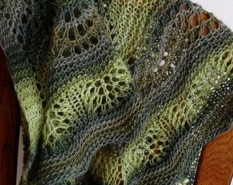 Prefall Sale waves mini shawl in spring, forest, and olive greens - gradient, handknit, boho, mori girl, handmade accessories